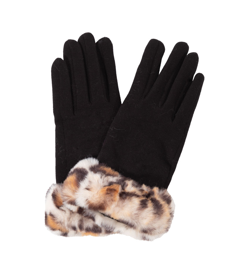 Fashionista J Black Leopard Gloves