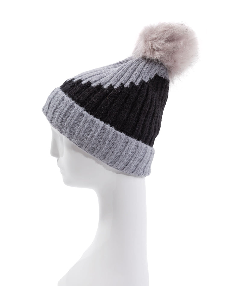 Fashionista J Grey Color Block Pom Hat