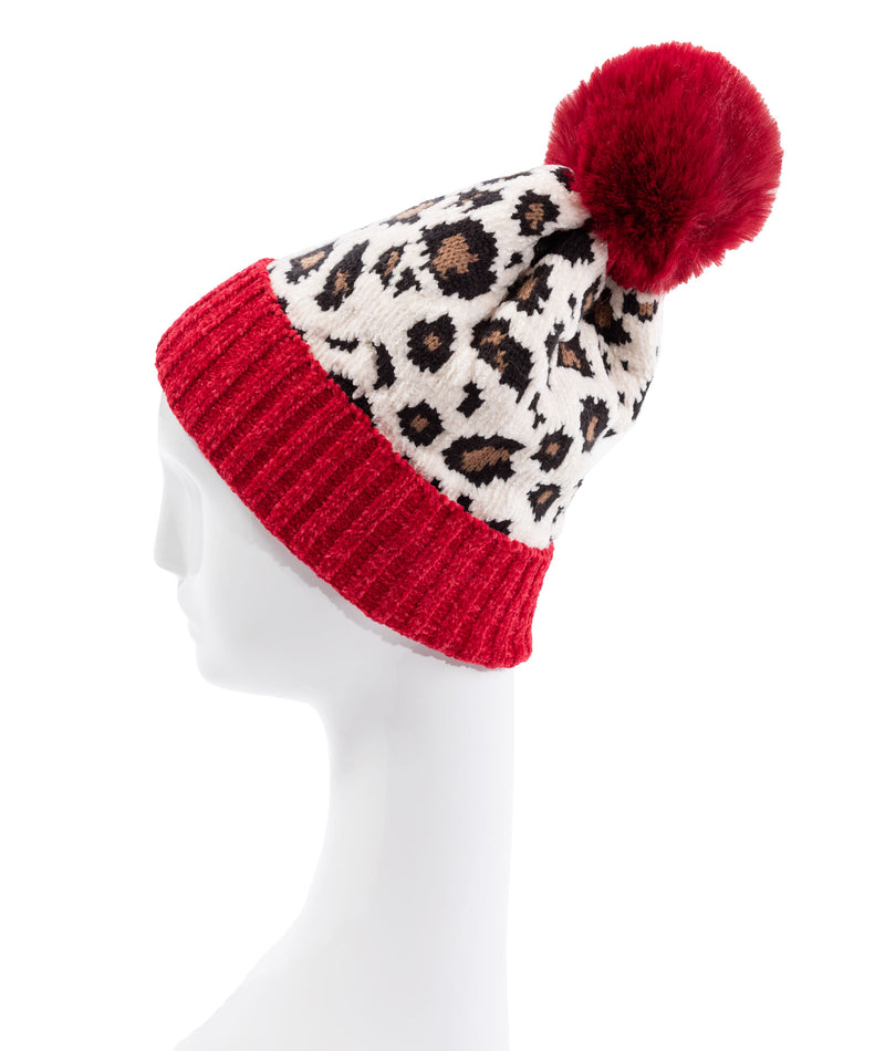 Fashionista J Red Leopard Pom Hat