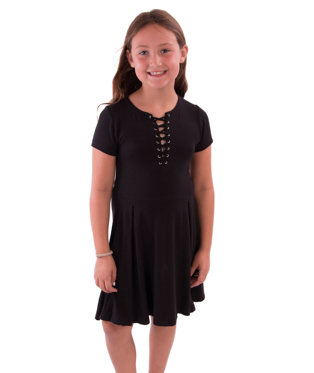 Flowers by Zoe Girls Black Lace Up Swing Dress - Frankie's on the Park