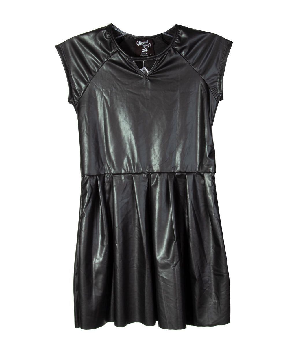 Flowers By Zoe Girls Pleather Black Dress