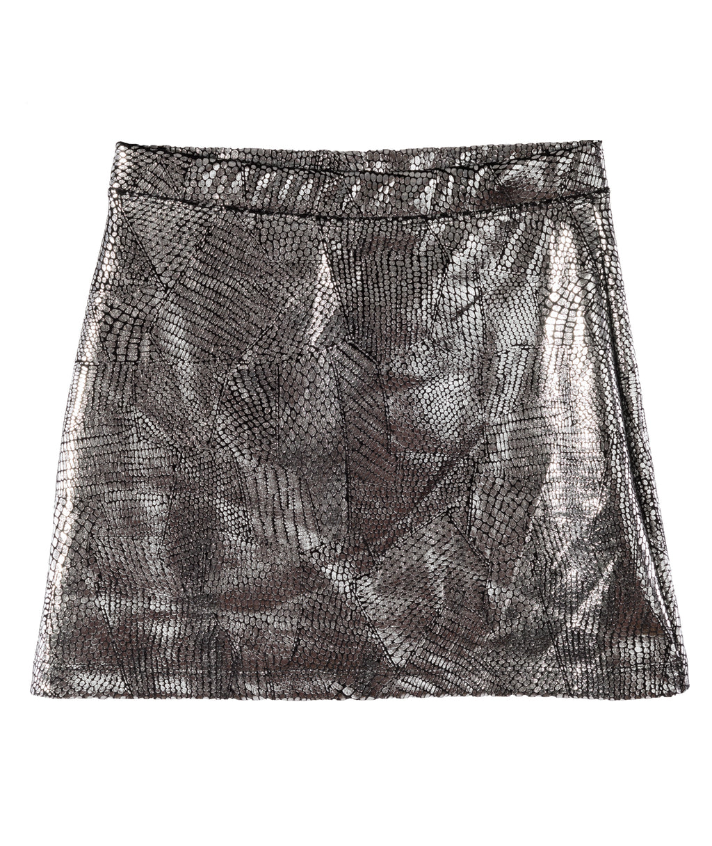 Flowers by Zoe Girls Silver Metallic Snake Skirt