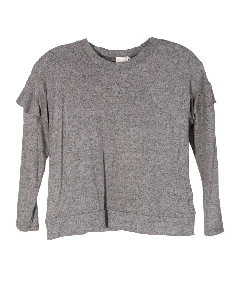 For All Seasons Girls Grey Ruffle Sleeve Top
