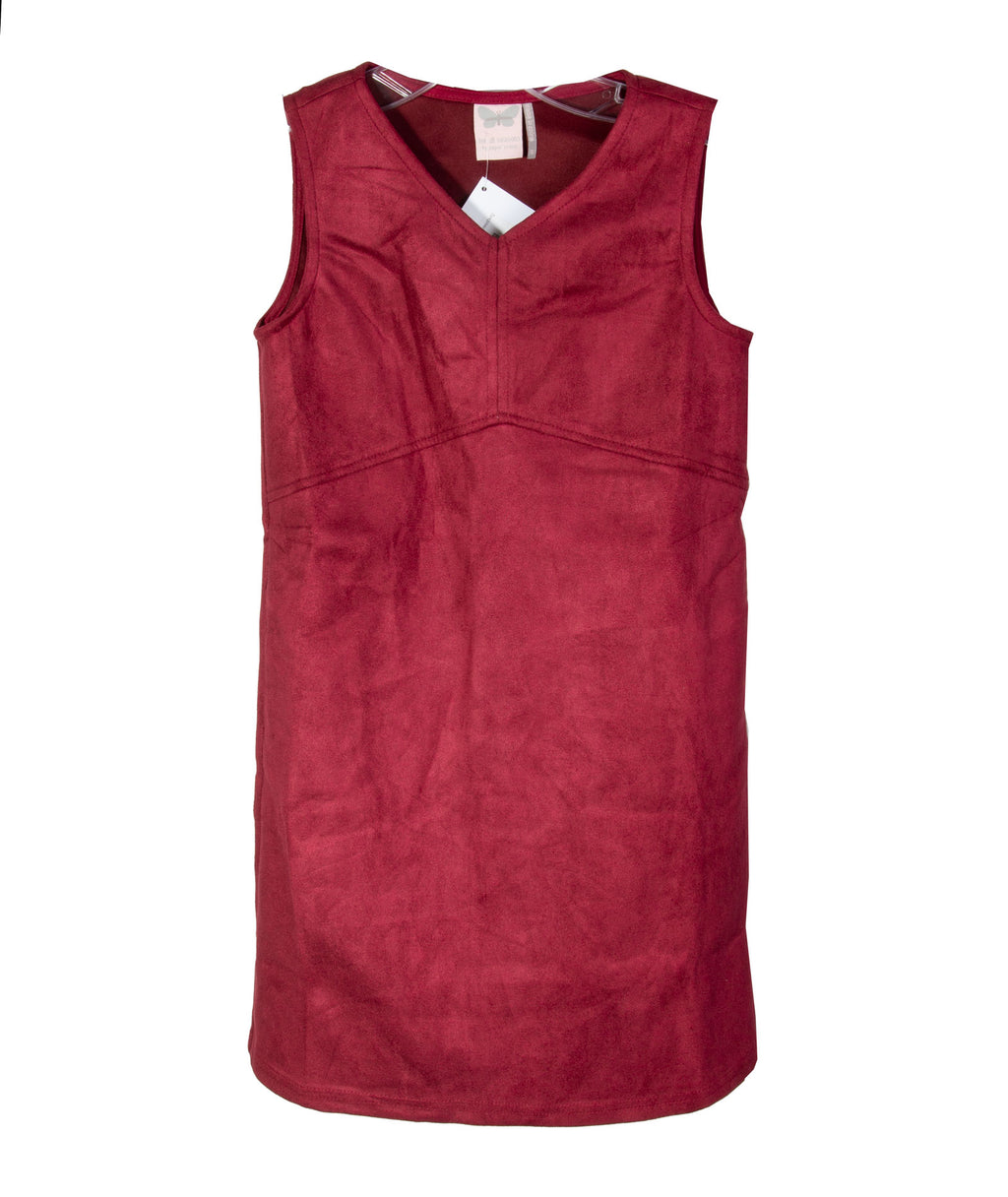 For All Seasons Girls Burgundy Suede Dress