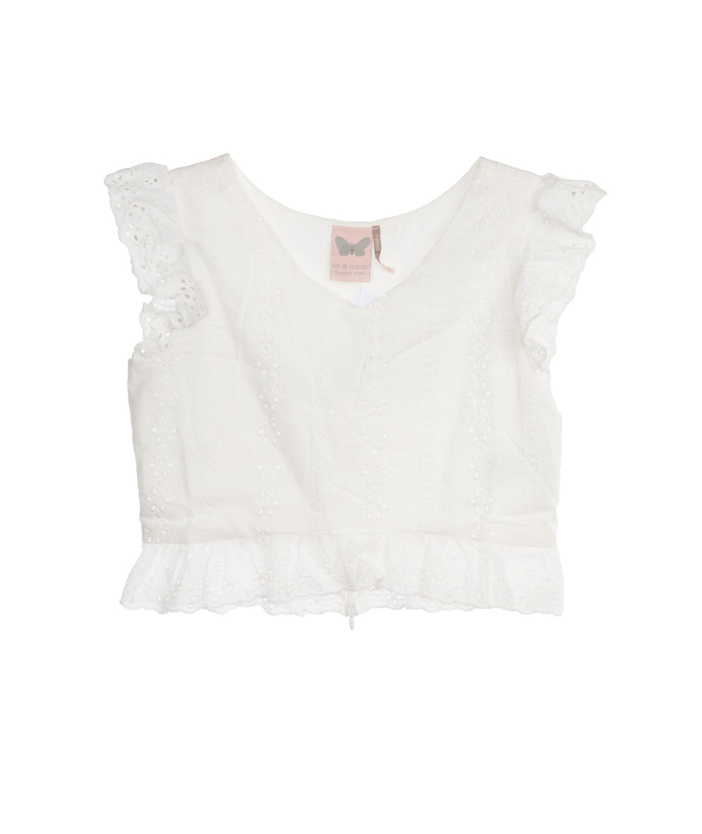 For All Seasons Girls Ivory Eyelet Top