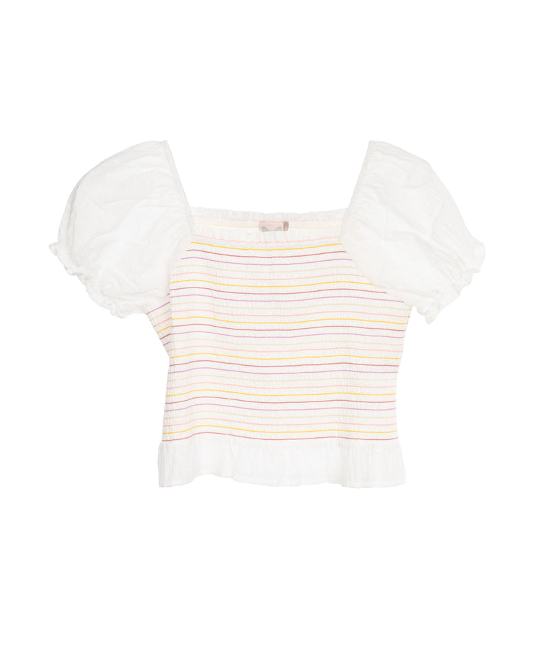 For All Seasons Girls Ivory Puff Sleeve Top