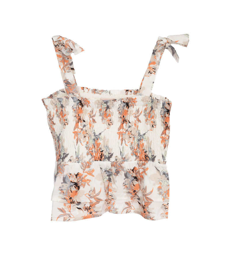 For All Seasons Girls Ivory Floral Smock Tank