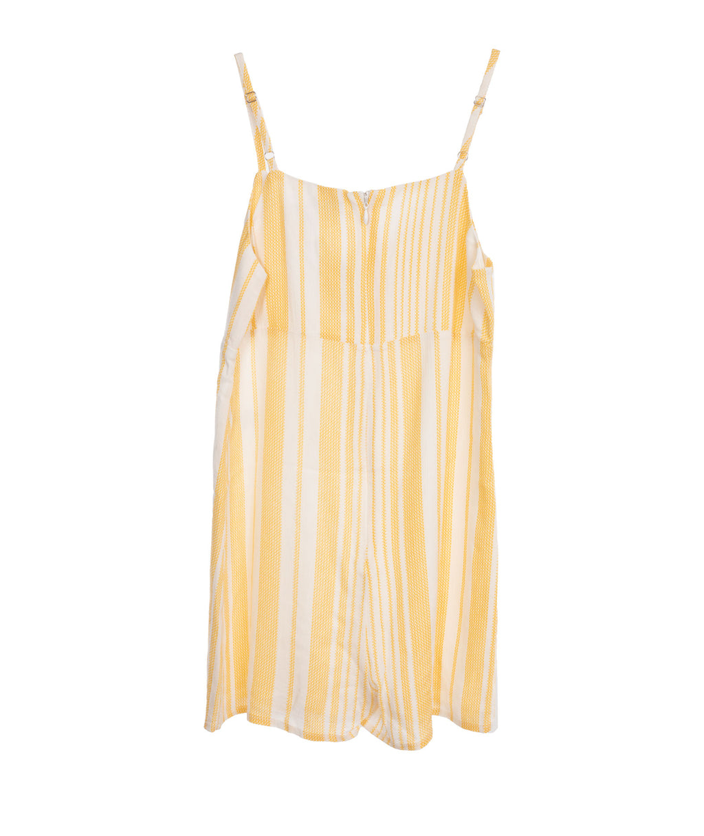 For All Seasons Girls Yellow Striped Romper