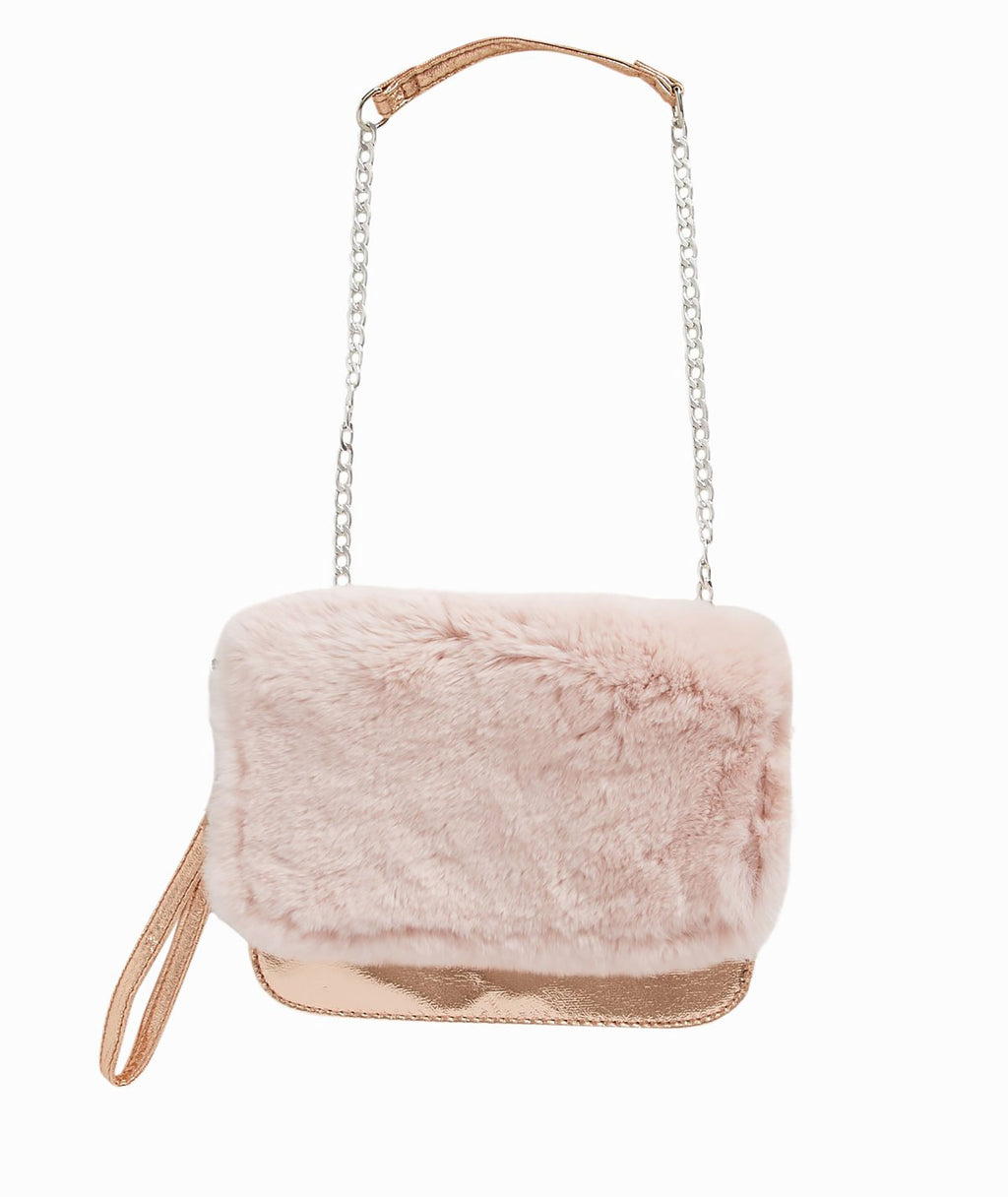 Bari Lynn Ivory Rose Gold Fur Purse