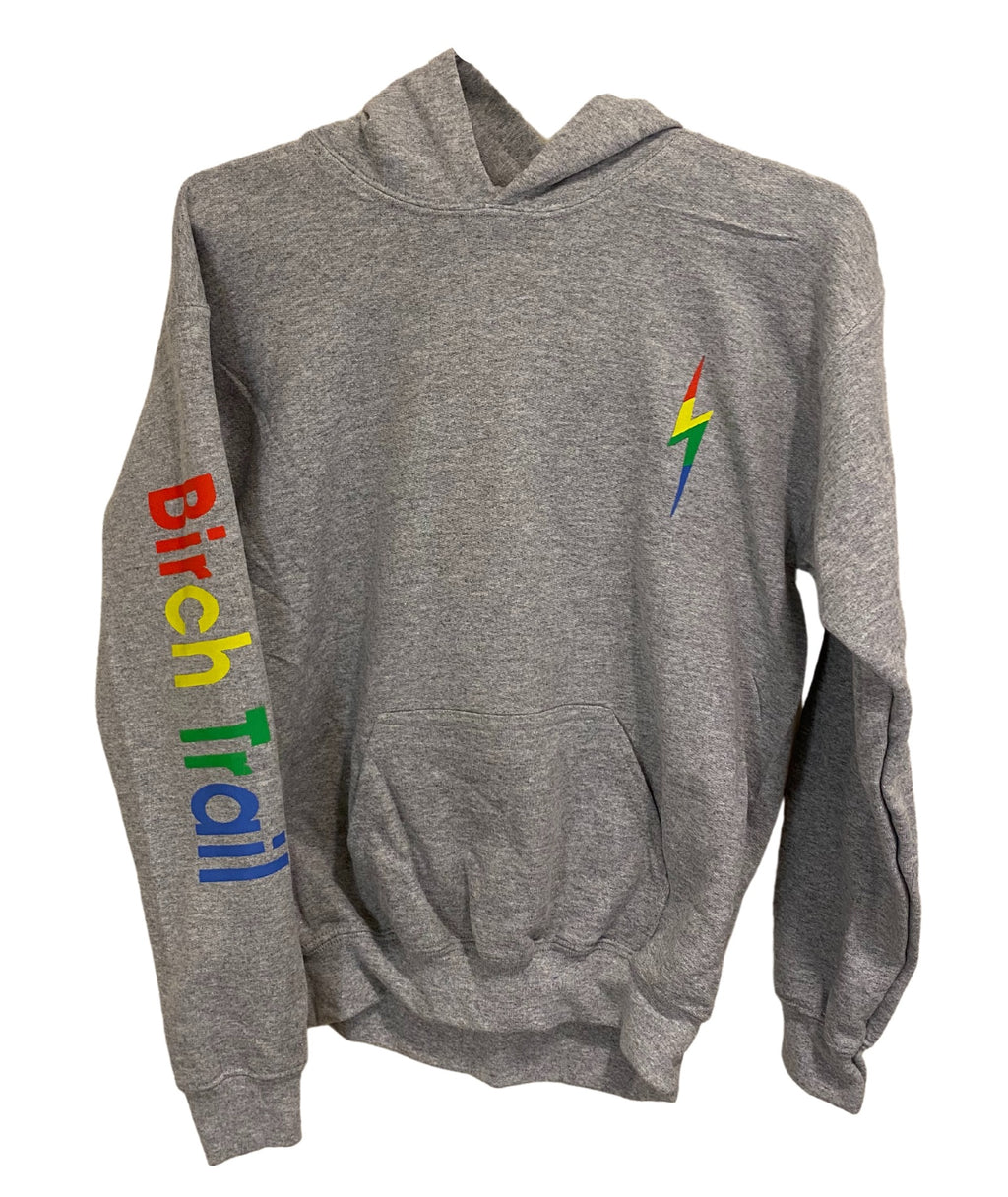 Gildan Grey Pullover Hoodie With Rainbow Camp Lettering and Bolt