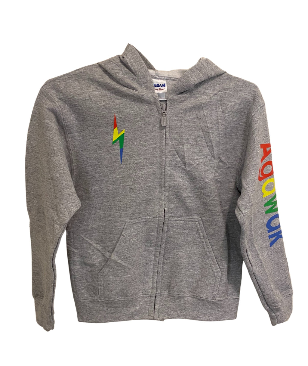 Gildan Heather Grey Zip Hoodie With Rainbow Camp Lettering and Bolt