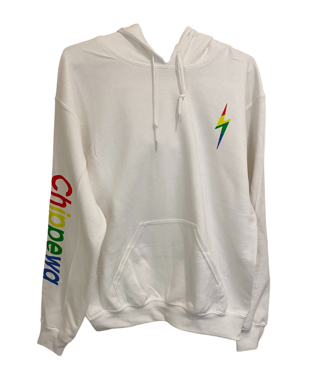 Gildan White Pullover Hoodie With Rainbow Camp Lettering and Bolt