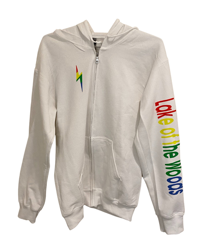 Gildan White Zip Hoodie With Rainbow Camp Lettering and Bolt
