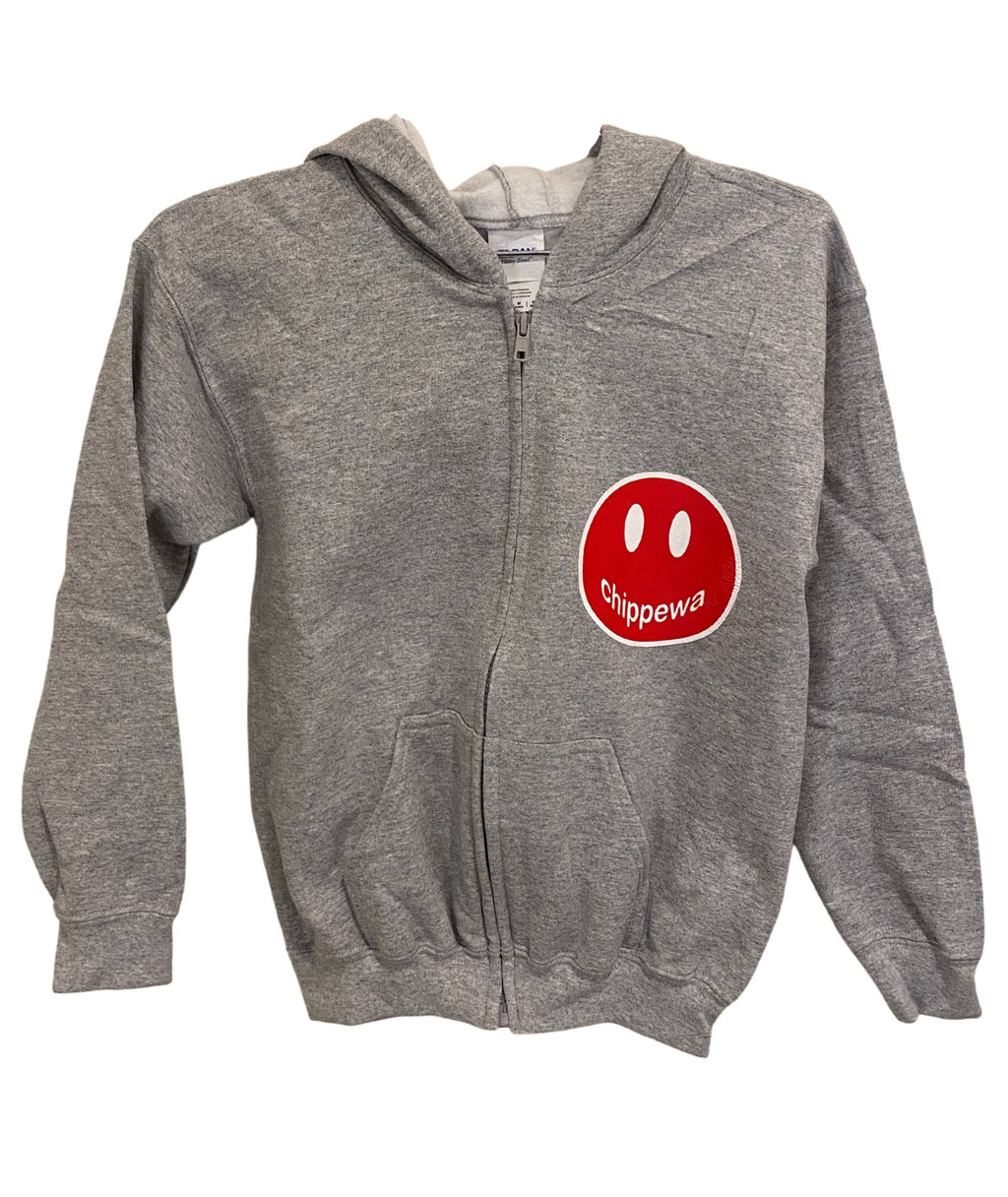 Gildan Grey Zip Hoodie With Small Camp Color Smiley