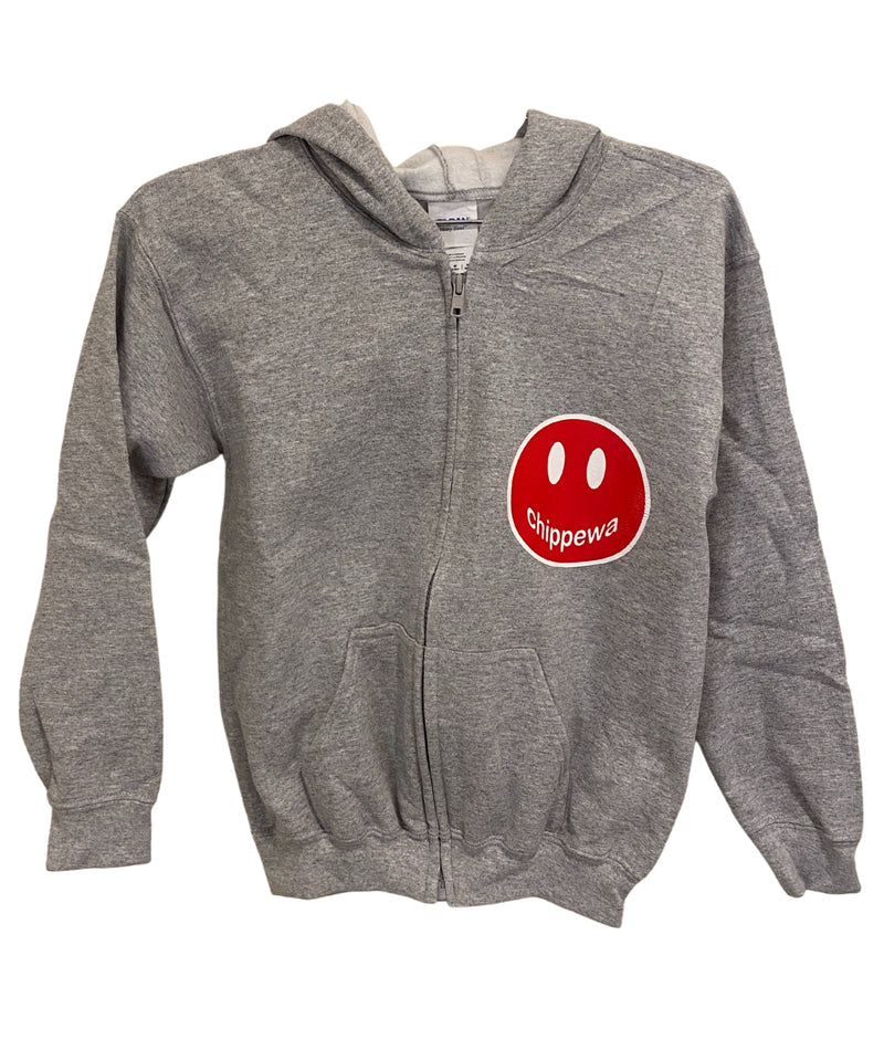 Heather Grey Crew Sweatshirt With Large Camp Color Smiley Girls