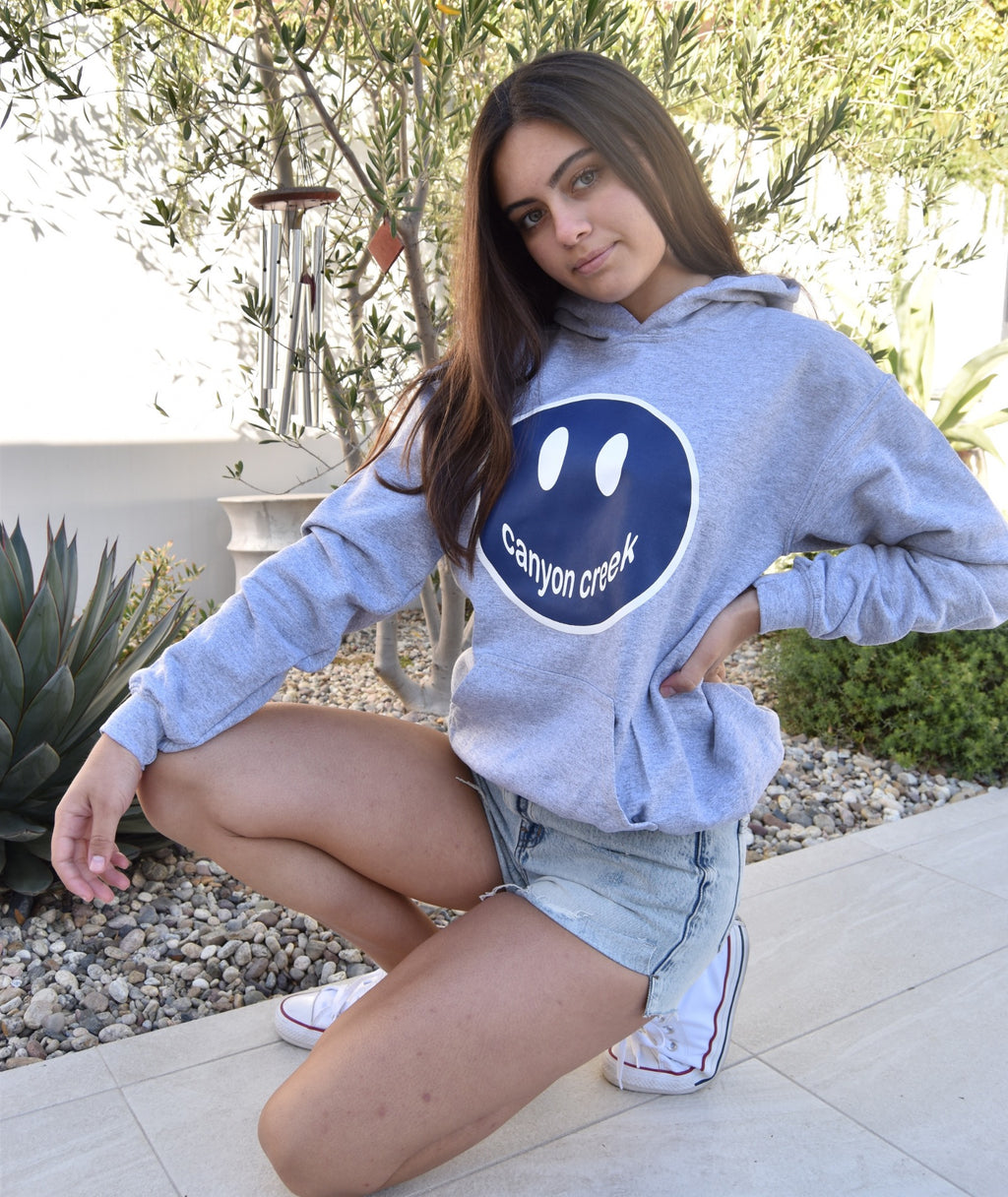 Gildan Grey Pullover Hoodie With Large Camp Color Smiley