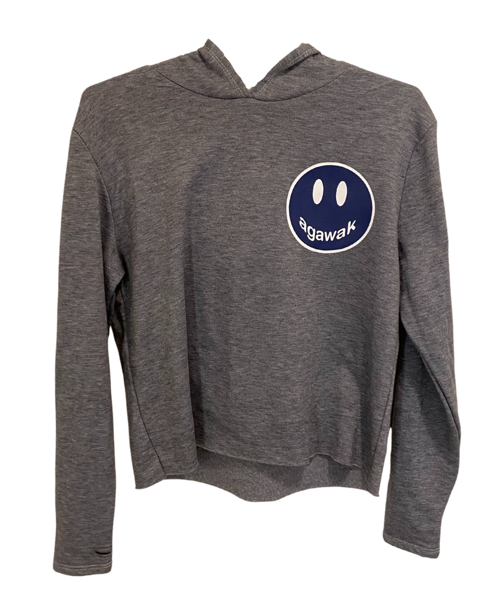 Heather Grey Crop Hoodie With Small Camp Color Smiley Girls