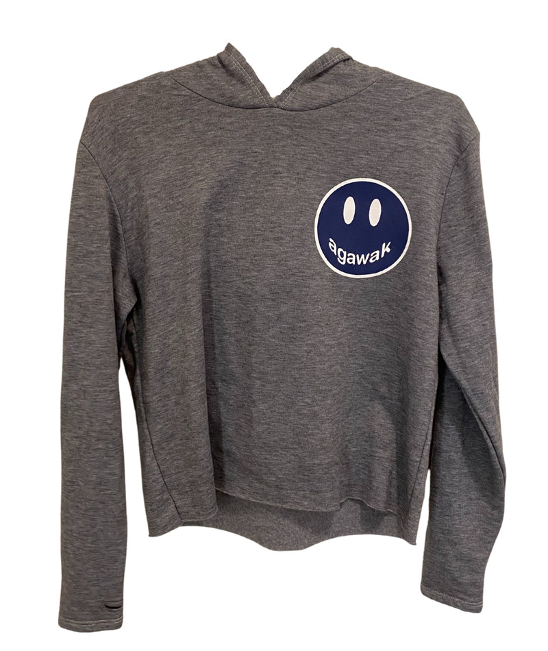 Heather Grey Crop Hoodie With Small Camp Color Smiley Juniors