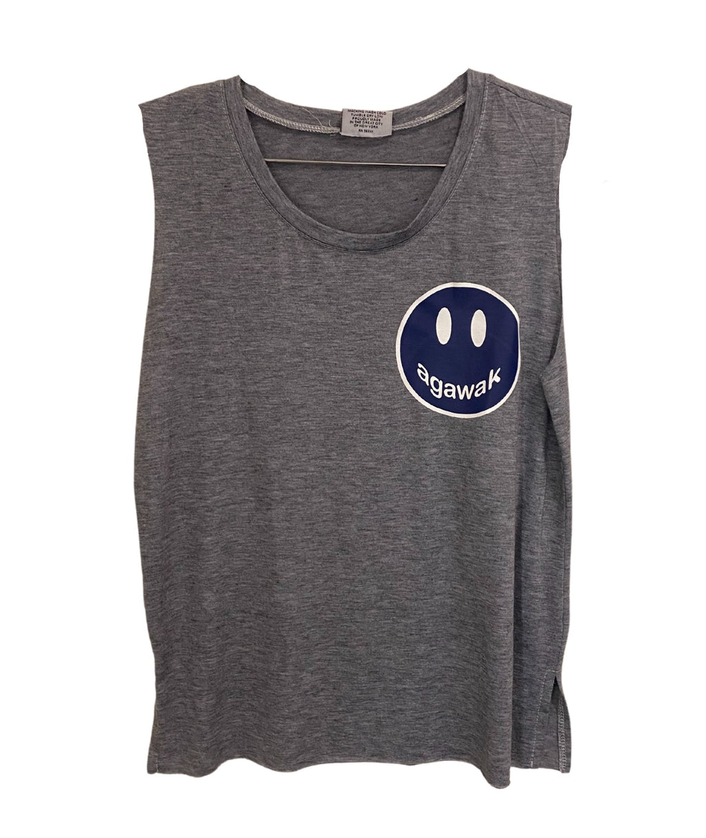 Heather Grey Tank With Small Camp Color Smiley Juniors