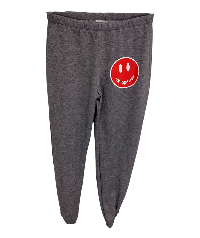 Heather Grey Sweatpants With Small Camp Color Smiley Juniors
