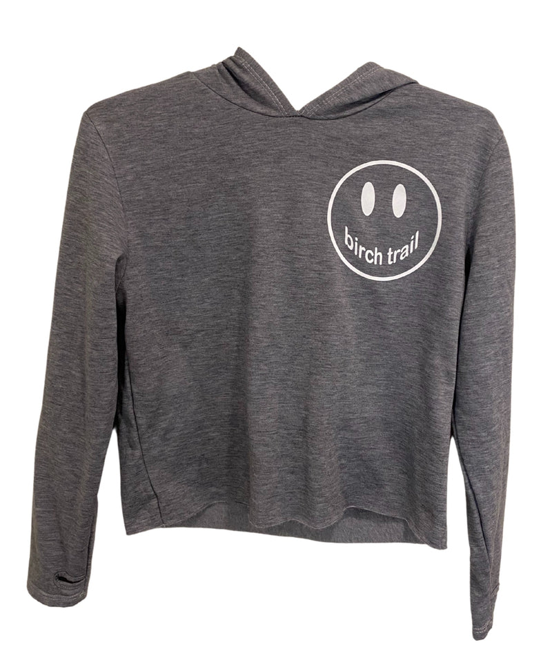 Heather Grey Crop Hoodie With Small White Smiley Juniors