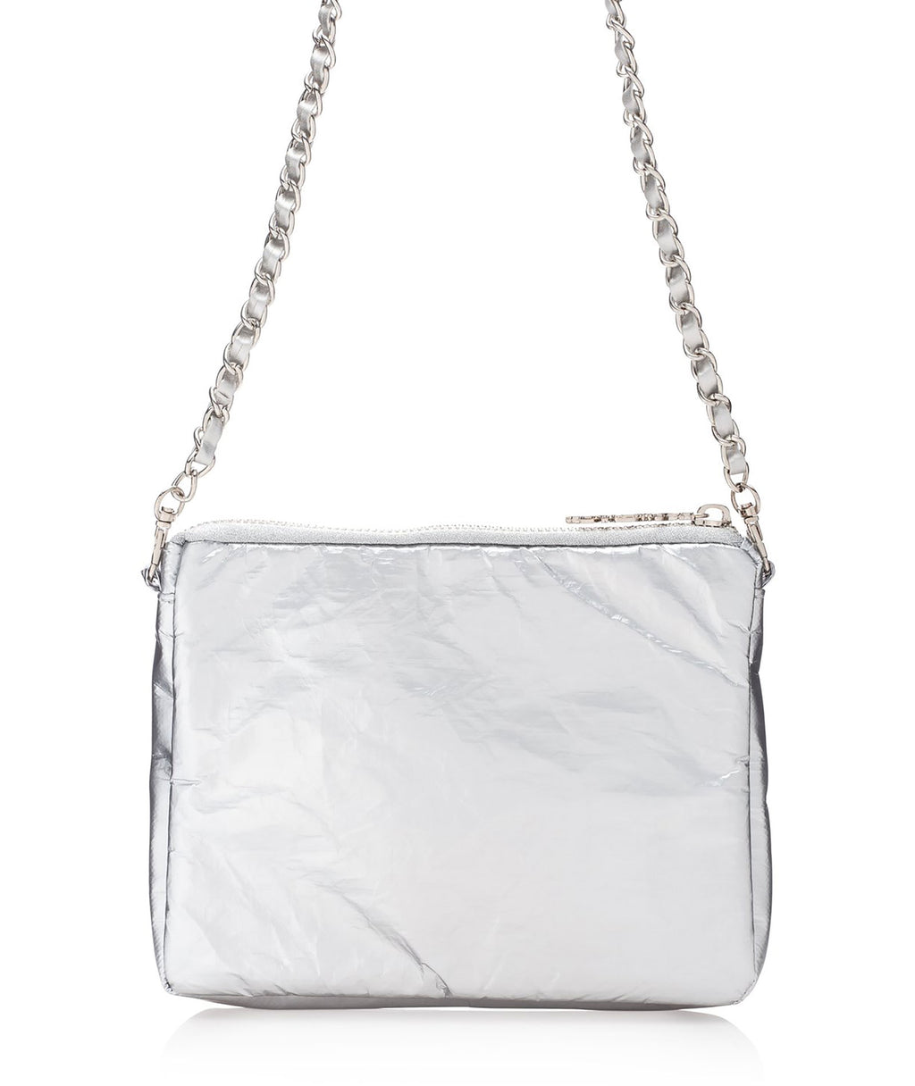 HI Love Travel Metallic Silver Purse