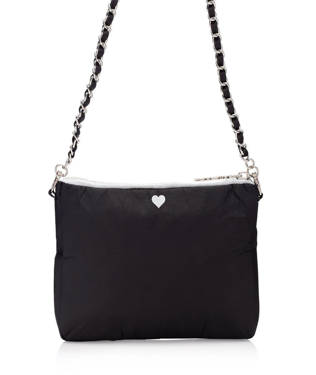 HI Love Travel Black Heart Purse