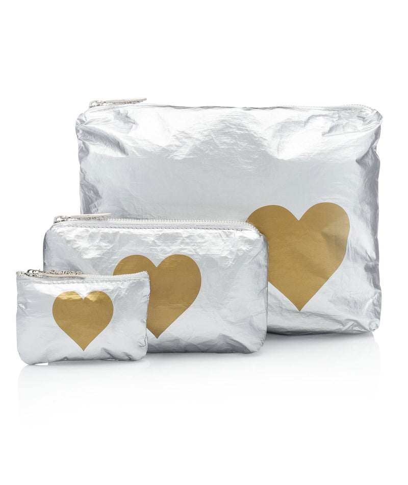 HI Love Travel 3 Pack Silver Gold Heart