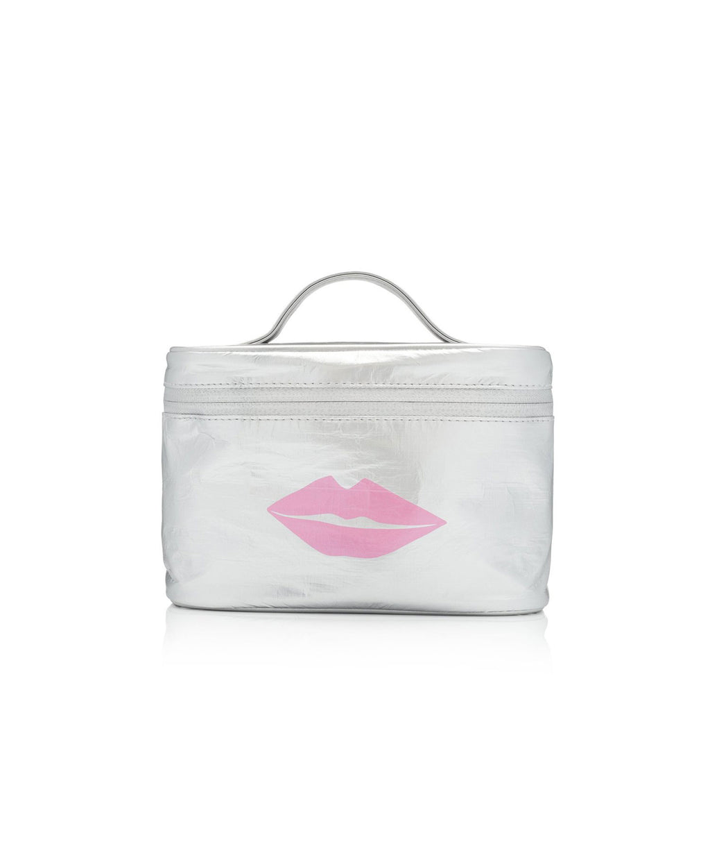 HI Love Travel Makeup Carrier Silver Pink Lips