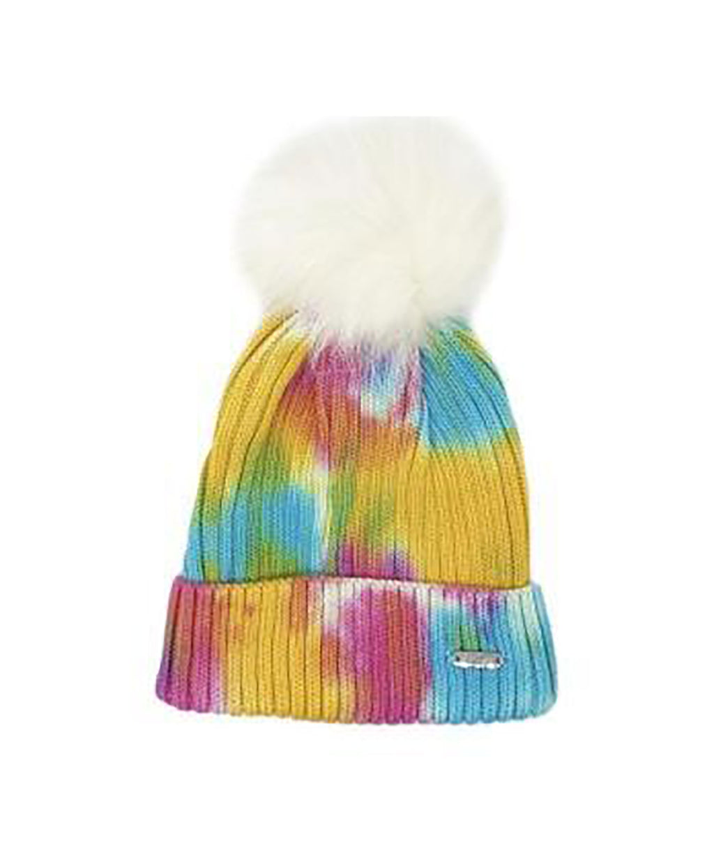 Bari Lynn Tie Dye Knit Hats With Poof