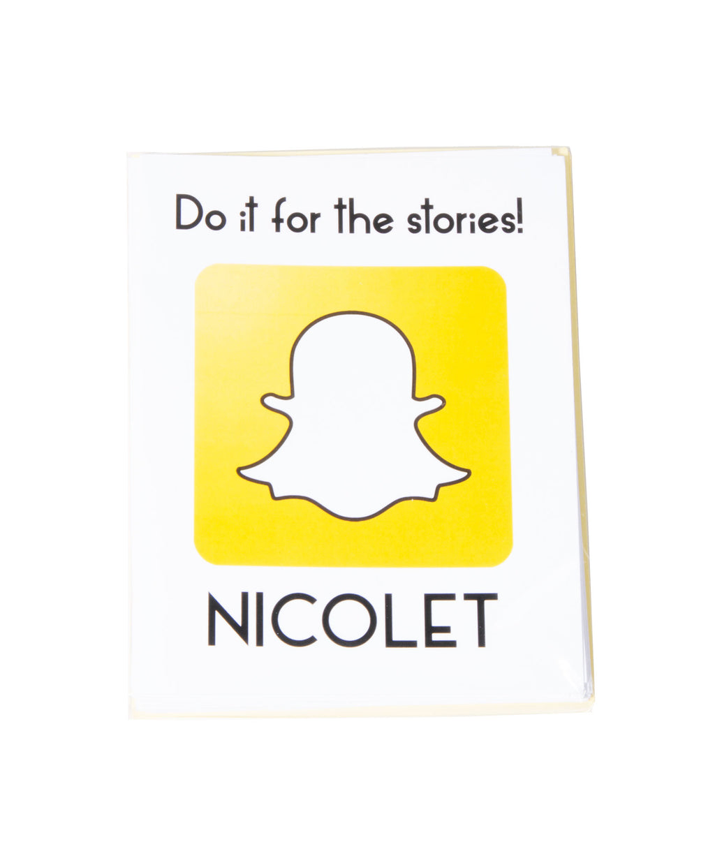 Pack of 10 Cards Camp Name Snapchat