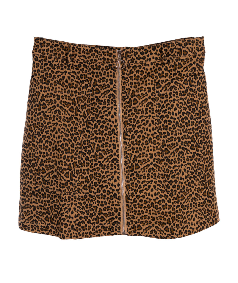 Hy Five 744 Women Sand Leopard Zip Skirt