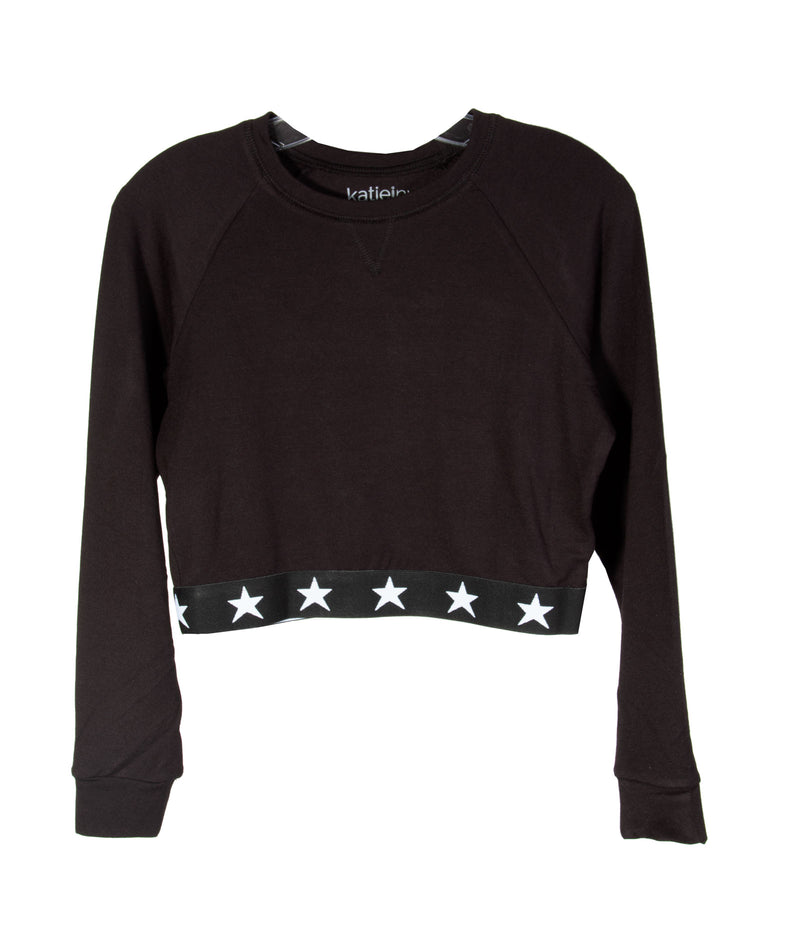 Katie NYC Girls Black Star Sweatshirt