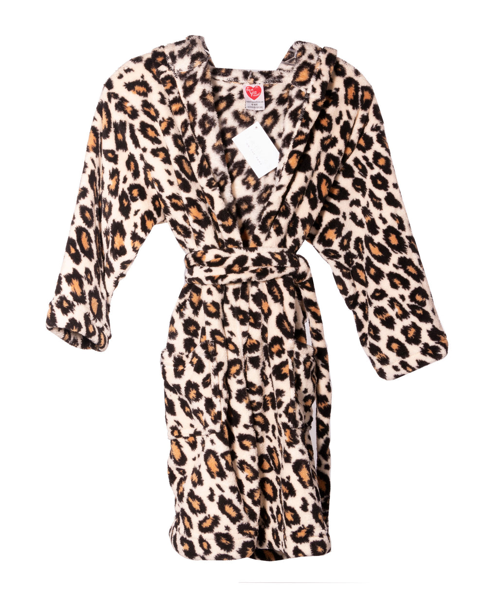 Made with Love and Kisses Girls Leopard Robe