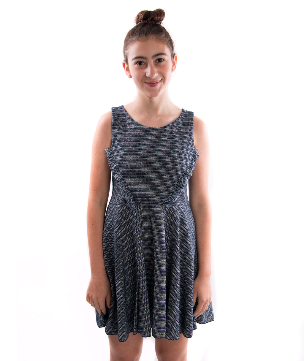 Zoe Ltd. Girls Mara Metallic Stripe Fringe Dress