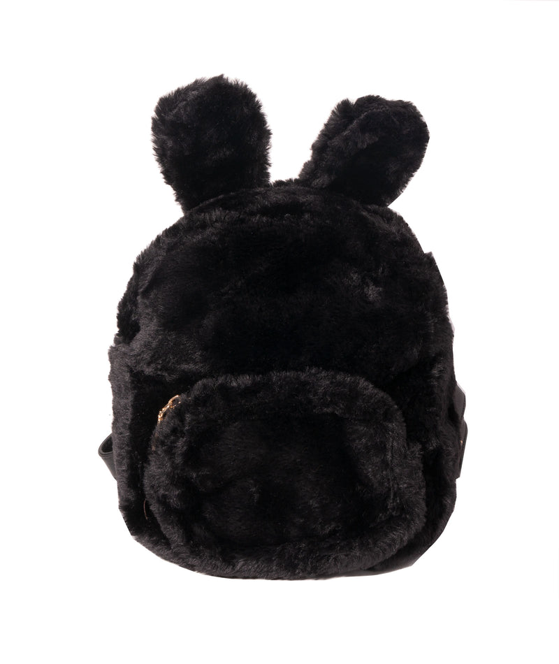 Fashionista J Black Bunny Ear Faux Fur Backpack