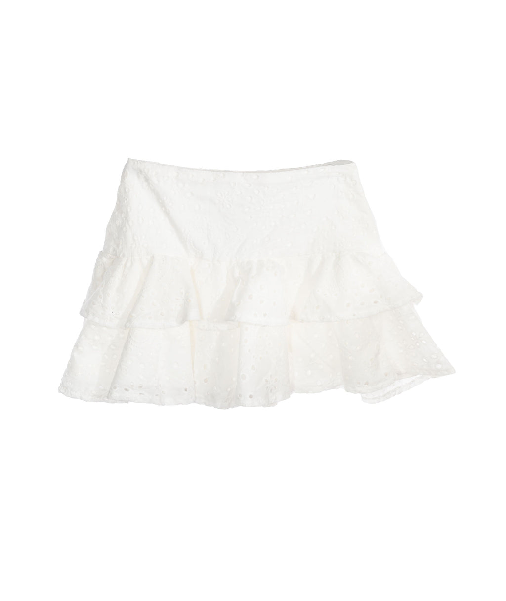 Katie NYC Girls White Lily Eyelet Skirt