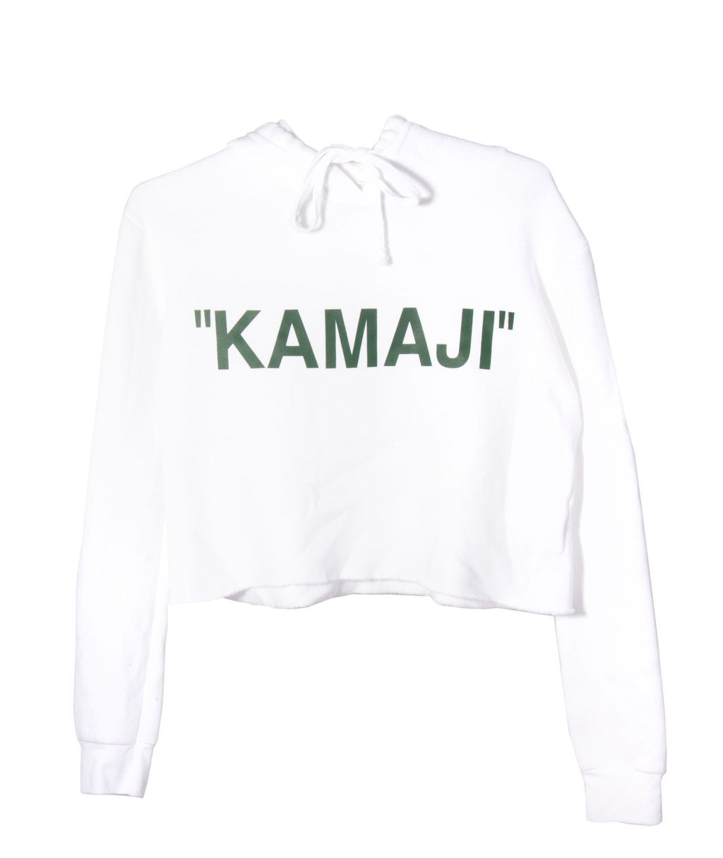 Custom Crop Fleece Hoodie Quotes White