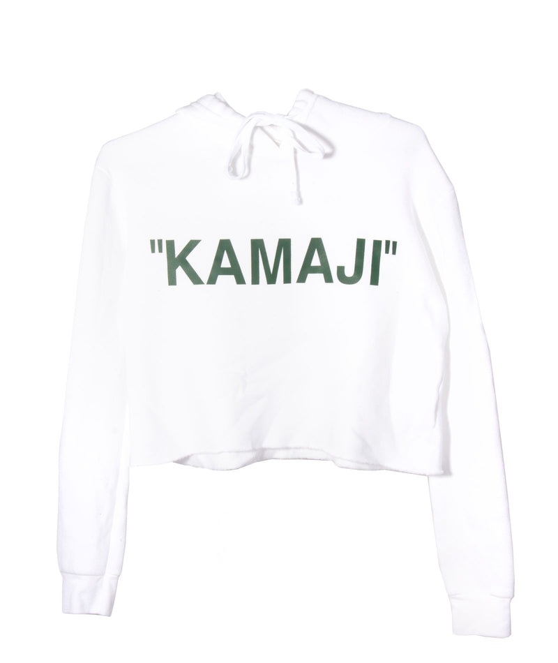 Quotes Crop Fleece Hoodie White