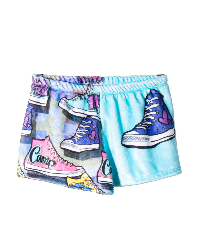 Fuzzy Camp Sneakers Pajama Shorts