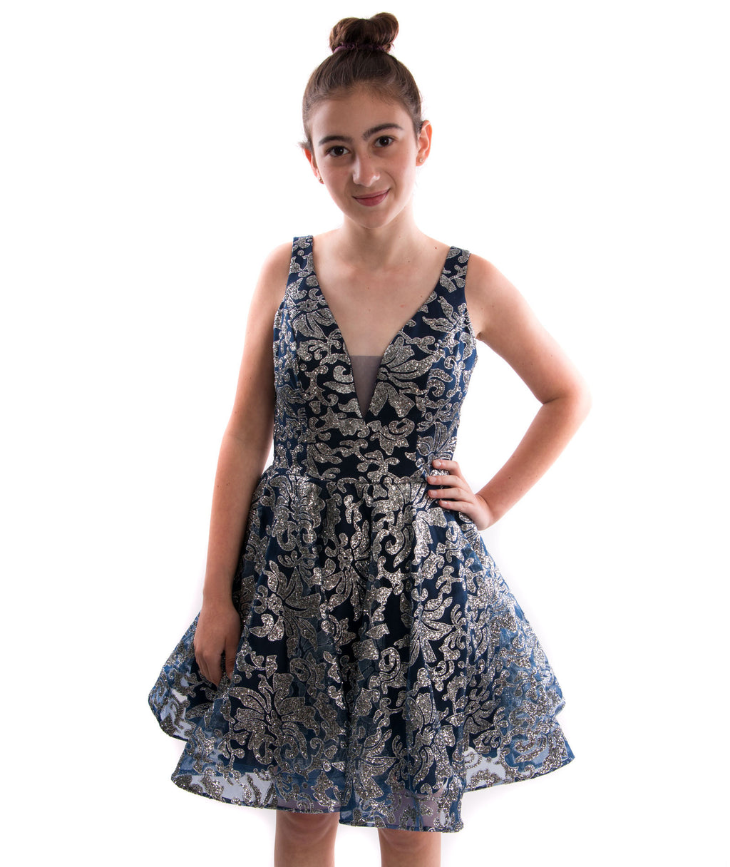 Jovani Women Navy and Silver Floral Dress