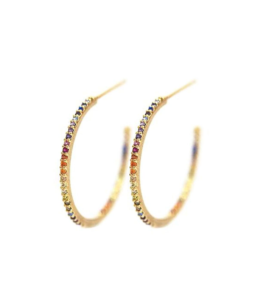 TAI Gold Circle Rainbow Earrings