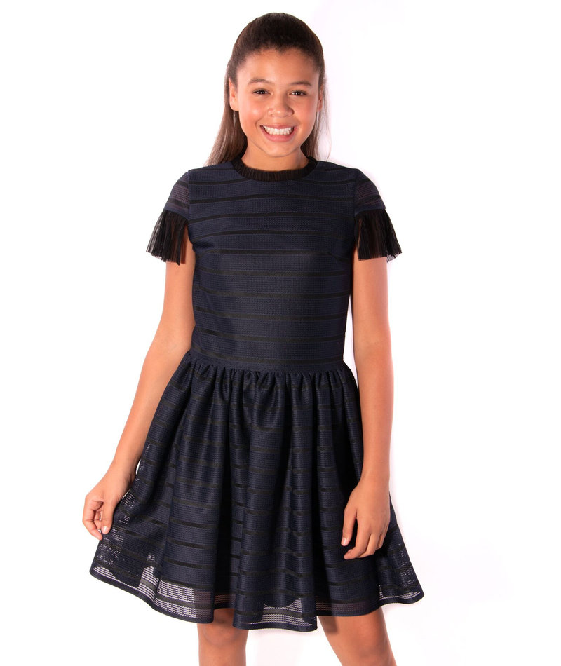 David Charles Girls Navy Techno Stripe Dress