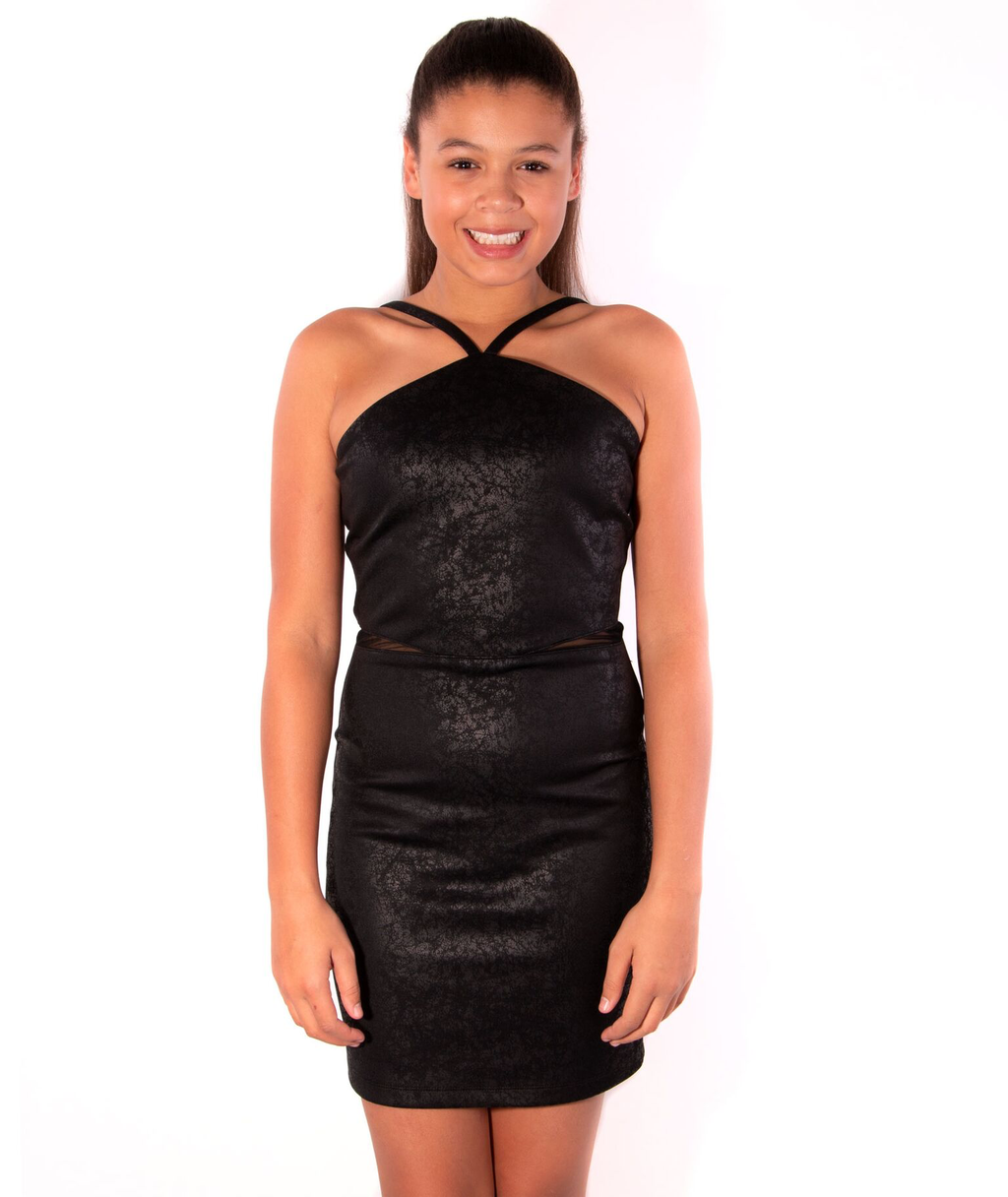 By Debra Girls Black Mesh Body Con Dress