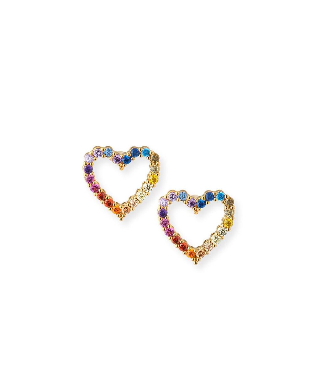 TAI Gold Open Heart Rainbow Earrings