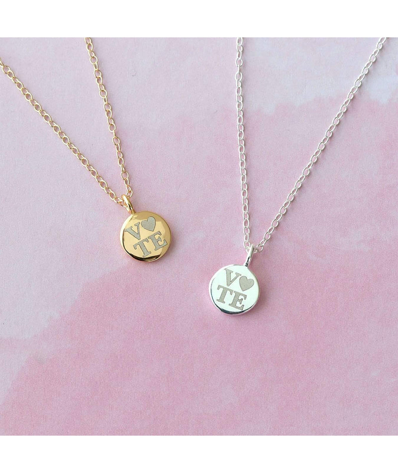 Kris Nations Petite Vote Disc Necklace 18K Gold Vermeil