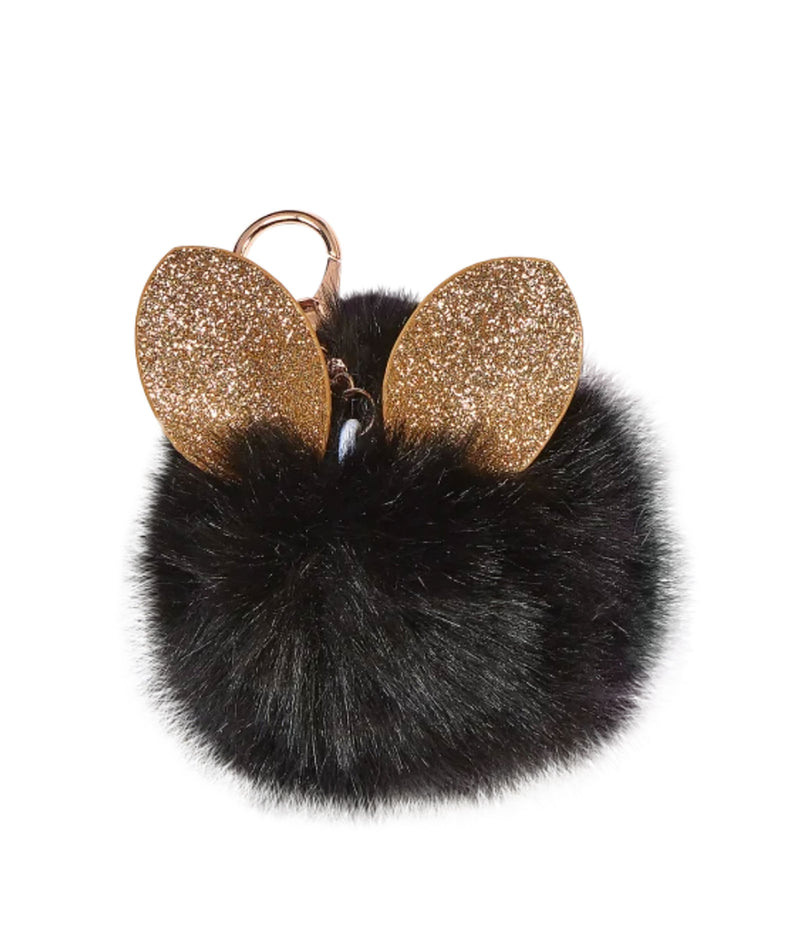 iScream Glitter Ears Black Furry Pom-Pom Keychain