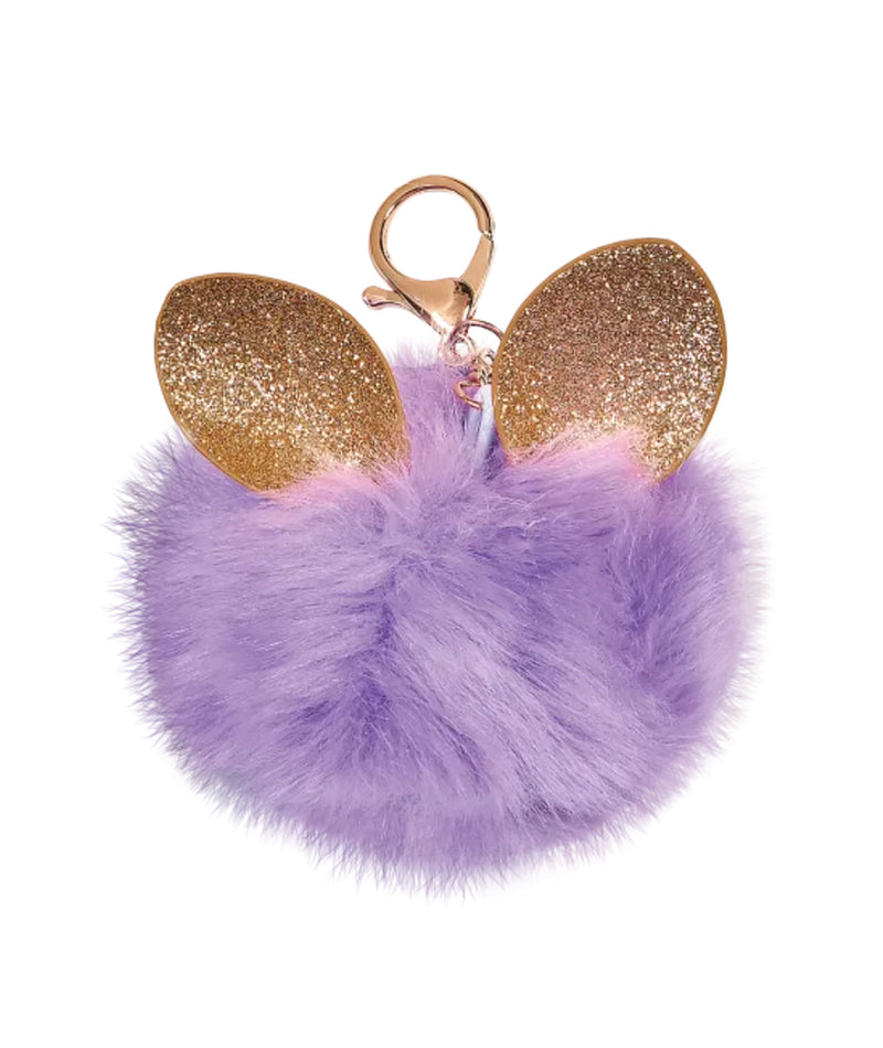 iScream Glitter Ears Purple Furry Pom-Pom Keychain