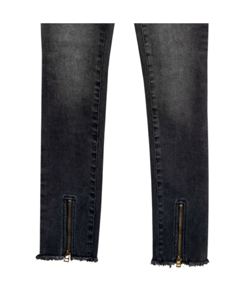 Me.n.u Girls Black Zip Bottom Jeans