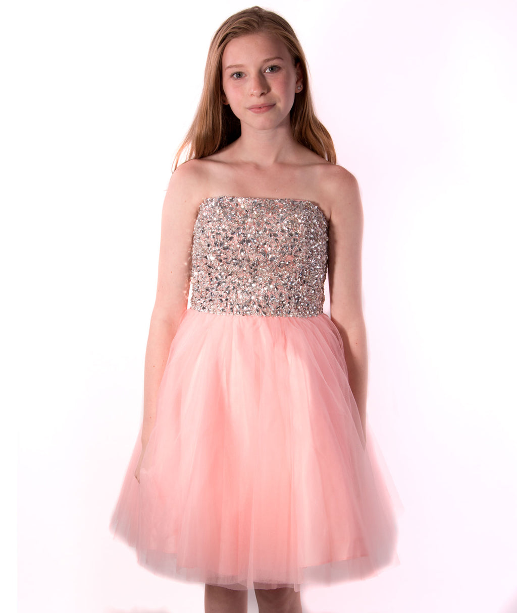 Jovani Girls Blush Beaded Strapless Dress